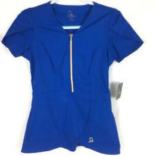 New listing Jaanuu Womens Sz Xs Scrub Top Blue Gold Accent Front Zipper Tuplip Hem Nwt