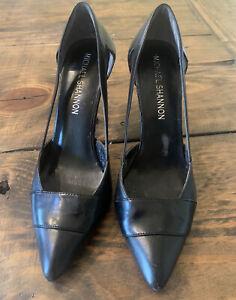 Michael Shannon Womens Casual Dress Black Open Toe Pump Heels Shoes Size 7