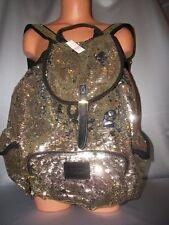 Victorias Secret Pink Gold Flip Sequins Bling Backpack School Bag NWT Full Size