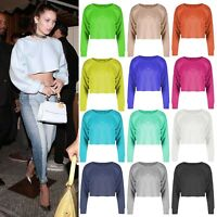Womens Baggy Raw Hem Oversized Boxy Sweat Jumper Gym Sporty Poll Over Crop Top