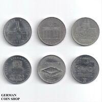 DDR - Set 6 verschiedene 5 Mark Münzen - 1971 1972 1987 1990