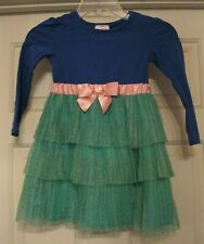 Hanna Andersson tulle skirt dress - 5/6 (110), blue/teal, pink Bow, super cute!