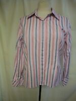 Ladies Shirt Austin Reed UK 16 pink/blue stripes fitted, pure cotton, smart 1442