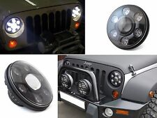 "1x CREE 7"" Round LED Black Projector H/L Beam Headlight For Jeep Hummer H1 H2"