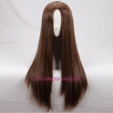 75cm Long Brown Straight no bang Anime Cosplay Wig + a wig cap