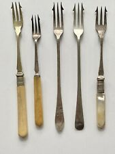 5 Vintage Pickle Forks, Cutlery, Bundle, Mixed, Collection