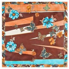 "Silk Blend Brown & Turquoise Butterfly, Scarf Bandanna 23"" X 23"" Neckerchief"