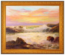 Robert Wood Large Original Painting Oil On Canvas Sunset Seascape Signed Artwork