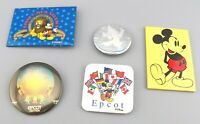 Vintage Disney Buttons Pin Backs Epcot Mickey Mirror MGM WDW Lot of 5 GUC