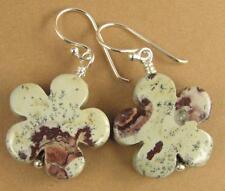 Jasper flower shaped earrings. Stone. Grey, pink, brown. Sterling silver 925.