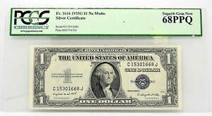 RARE 1935 GEM SUPERB 68 PPQ Fr 1616 $1 DOLLAR NO MOTTO SILVER CERTIFICATE NOTE