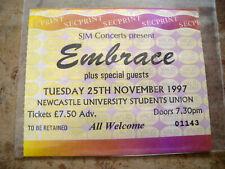 More details for embrace newcastle uni, 25th november 1997 ticket uk sjm used ticket