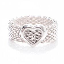 HEART Designer MESH Ring Sz 8 FREE SHIP 925 Sterling Silver Stunning! Woven