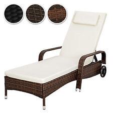 Tumbona chaise longue de poli ratán tumbona de jardín silla de terraza NUEVO