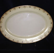 "MEITO CHINA N2007 OVAL PLATTER 12"" SCROLLS CROSSES SWAGS TAN EDGE GOLD TRIM"