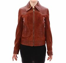 NWT $25000 DOLCE & GABBANA Brown Alligator Suede Leather Jacket IT38 /US4 /XS