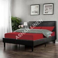 100% Cotton RED Duvet Cover Bedding Set in size Single Double King Super King