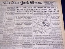 1943 NOV 14 NEW YORK TIMES - RUSSIANS CAPTURE ZHITOMIR, SWEEP AHEAD - NT 1069