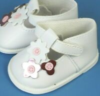 """White w/ Flowers T-Strap Doll Shoes For 18"""" American Girl Doll Clothes"""