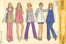 Vintage 1972 Simplicity Sewing Pattern # 5421 Maternity Smock-Top Pants Size 12