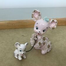 Vintage Pink Spaghetti Mama Poodle with Puppy Poodle on leash Euc 4 inches High