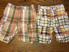 *CRAZY 8 by GYMBOREE* Boys SUMMER 2 Pairs of Plaid Shorts Size 12-18M