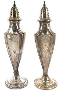 .ANTIQUE USA AMERICAN WEBSTER COMPANY STERLING SILVER SALT & PEPPER SHAKERS.