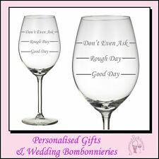 Engraved Crystal Wine Glass - Good Day Easy day Rough Day - Birthday Xmas Gift