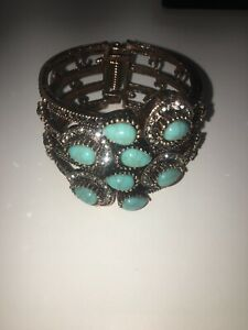 Turquoise GemstoneBangle Women Retro Copper Crystal Turquoise Bracelet Gift