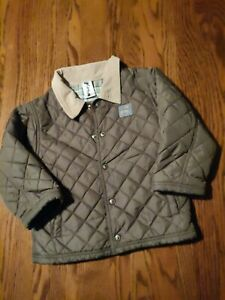 Gymboree girls size 3T light puffer jacket green with brown collar snap up