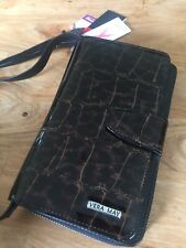 Vera May Black/Croc Genuine Leather Wallet Organiser Handbag - BNWT