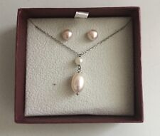 Helzberg Diamonds Cultured 2 Pearl Pendant Sterling Silver 925 Necklace in box
