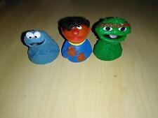 LOT of 3 Vintage Sesame Street Muppets Finger Puppets ERNIE,OSCAR,COOKIE MONSTER