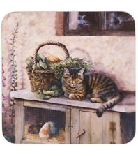 Set Of 6 Impress Tabby Cat Coasters - Brown Crazy Cat Lovers