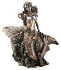 New! Mermaid with Shell Art Nouveau Style Bronze Finish Sculpture Statue 8017