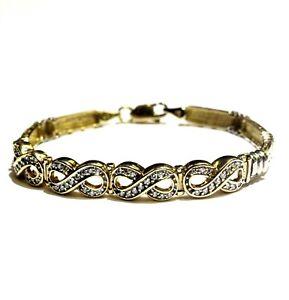 "14k yellow white gold .56ct diamond Infinity Greek Key 7"" tennis bracelet 14.6g"