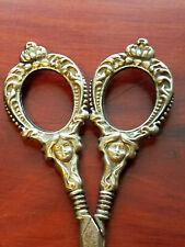 Vintage CHATELAINE Silver SCISSORS Ornate WOMAN & CROWN or Flower Figural Motif
