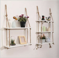 Rustic Hanging Wall Shelf Solid Wood Floating Shelves Storage Rope Vintage