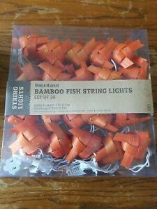Vtg World Market Bamboo Fish String Lights  Set of 20 NEW Unused Orange Goldfish