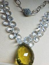 Lemon Quartz & Crystal Necklace 50 Karat Stone 30 Briolettes & Jeweled Closure