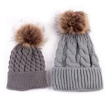 Mother & Child Baby 2PC Winter Warm Knitted Ski Cap Fur Pom Pom Beanie Hat