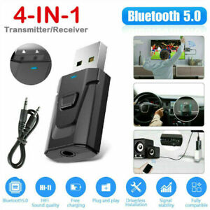 4IN1 Bluetooth 5.0 Transmitter Receiver Wireless Audio 3.5mm USB Aux Adapter USA