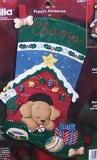 Bucilla PUPPY'S CHRISTMAS Dog Felt Stocking KIT VERY RARE  Sterilized Check Sale