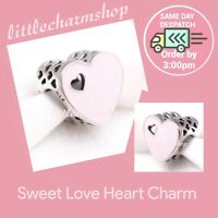 New Authentic Genuine PANDORA Silver Sweet Love Heart Charm -791812EN40 RETIRED