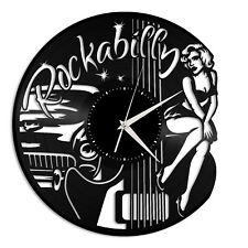 Rockabilly Vinyl Wall Clock Rock Band Music Lover Gift Home Room Decoration