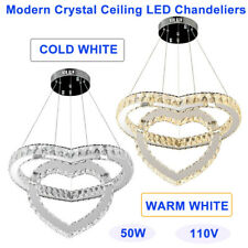 Indoor Modern Crystal Ceiling Chandeliers,2 rings Heart Led Fixtures Lamps 50W