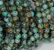 8MM AFRICAN TURQUOISE GEMSTONE GREEN ROUND 8MM LOOSE BEADS 7.5""