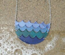 Blue Ocean Waves Statement Large Pendant Necklace Sea Surf Beach Wave Acrylic