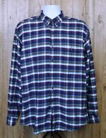 VINTAGE MENS SAKS FIFTH AVENUE FLANNEL SHIRT SIZE L BLUE CHECK 100% COTTON WORK