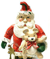 Vintage House Of Hatten Santa Claus With Teddy Bear Metal Stars 1992